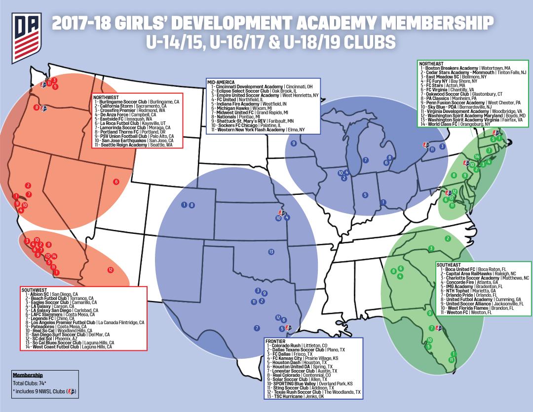 Girls DA United Futbol Academy - Map of new york penn league teams